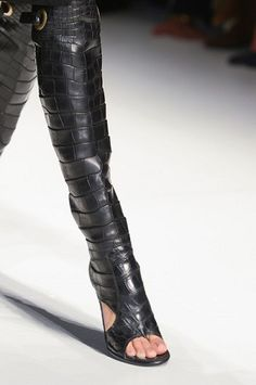 Black leather thigh-high peep-toe boots by Salvatore Ferragamo Spring/Summer 2013 Collection. As seen on Kate Moss in the designer's latest campaign. Knee Boots, Bootie Boots, High Boots, High Heels, Boot Heels, Sexy Stiefel, Sexy Boots, Hot Shoes, Beautiful Shoes