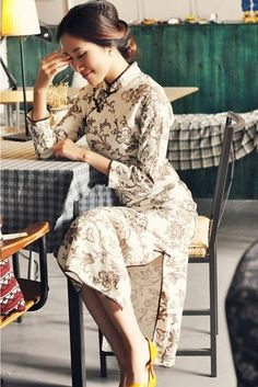 Whiter Floral Long Cheongsam / Qipao / Chinese Dress by AnneF