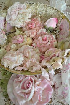 Shabby Chic Pink and White Ribbon Roses Ribbon Art, Ribbon Crafts, Fabric Ribbon, Flower Crafts, Ribbon Flower, Lace Flowers, Felt Flowers, Vintage Flowers, Beautiful Flowers