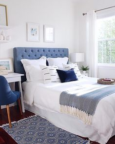 Loving how our guest bedroom looks and feels since we painted the walls and ceilings with Benjamin Moore White Dove - jane at home Beach House Bedroom, Guest Bedroom Decor, Master Bedroom Design, Blue Bedroom, Guest Bedrooms, Modern Bedroom, Bedroom Ideas, Guest Room, Diy Bedroom