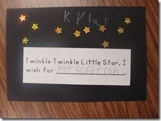 So simple yet so many teachable thoughts - child practices writing name, ask child how many stars they would like in the sky and together count them and then adhere them using small motor skills, and finally they need to think and verbalize a wish! Nursery Rhyme Crafts, Nursery Rhymes Preschool, Nursery Rhyme Theme, Nursery Themes, Preschool Activities, Language Activities, Book Activities, Nursery Rhythm, Preschool Journals