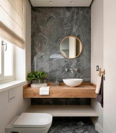 # GästeWC with accent wall in optics- mit Akzentwand in # guest toilet with accent wall in - Bathroom Design Small, Bathroom Interior Design, Modern Bathroom, Small Toilet Room, Guest Toilet, Toilet Wall, Design Wc, House Design, Modern Design