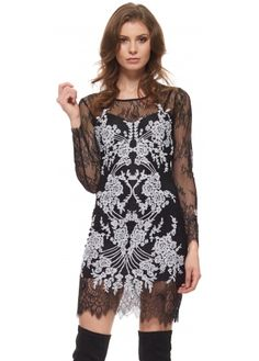 For Love & Lemons Lacey Dreams Long Sleeve Mini Dress In Black