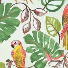 Boel & Jan Fabric - Ayon - Contemporary Designer Swedish Fabric - Red / yellow parrots and tropical leaves - PRICE P/M Tropical Fabric, Tropical Leaves, Scandinavian Fabric, Scandinavian Design, Contemporary Fabric, The Day Will Come, Curtains With Blinds, Textile Patterns, Soft Furnishings