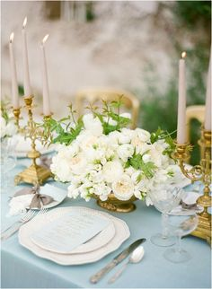 Dusty Blue and Gold Wedding Ideas I am head over heels for this color palette I've seen going viral inweddings lately! Dusty blue is quickly becoming one of my favorite wedding colors, and when it is paired with gold, it is simply irresistible.It is not only elegant but fresh, feminine and classic. Be inspired with the color board below with select photos from a few of my favorite wedding blogs!