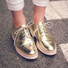 c6bd05586ceb gold oxfords and cuffed white jeans