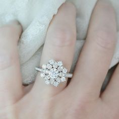 """Allegra"" Diamond Halo Engagement Ring on 14K White anyedesigns.com"