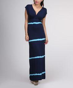 Look what I found on #zulily! Navy & Aqua Tie-Dye Stripe Maxi Dress #zulilyfinds