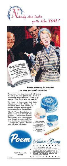 Poem beauty products ad, 1950s. #British #makeup #vintage