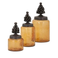 This beautiful trio of amber glass jars with fitted, sculptural pine-cone shaped lids will look great on the counter for fall and perfect year round in the cabin.