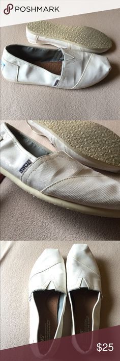 The Wedding Collection White Sparkle Toms All white sparkle toms, nearly new, only worn once. Size 9. Toms Shoes Flats & Loafers