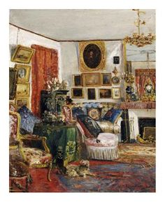 An Interior of a Sitting Room  by Gustave De Launay. We don't live like this any more!
