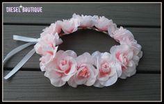 blush, pink rose crown, pink, rose, Headband, Halo, bridal, headpiece, flower, girl, bridesmaid, rustic, bridal, bride, crown, big, wedding