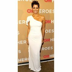 Pictures Of Halle Berry, Formal Dresses, Wedding Dresses, One Shoulder Wedding Dress, White Dress, Silhouettes, Beautiful, Bright, Woman