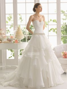 Romantic ball gown strapless v-neck tulle open back Wedding Dresses with beaded sashes PMLD0047