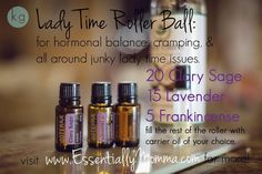 Lady Time Roller Bottle Recipe - for hormonal balance, cramps, and all around junky lady time issues - Clary Sage, Lavender, and Frankincense 3 saves Essential Oil Uses, Essential Oil Diffuser, Lavender Oil Benefits, Roller Bottle Recipes, Cellulite, Young Living Oils, Doterra Essential Oils, Essential Oils For Cramps, Doterra Blends