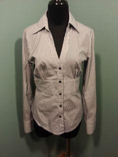 Express Design Studio White Black Striped Long Sleeve Cotton Stretch Blouse S $19 Free Shipping!