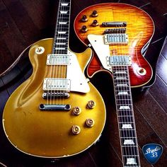 A double dose of #LesPaul greatness for #Gibsunday. Which gets your vote? Goldtop or Burst finish? (from @arkay1959) Learn to play guitar online at www.Studio33GuitarLessons.com