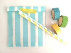 Turquoise stripes paper bags, Gift bags, packaging. 20X striped paper Snack Sweet Treats bags, party, Cute packaging, baby shower, pastel