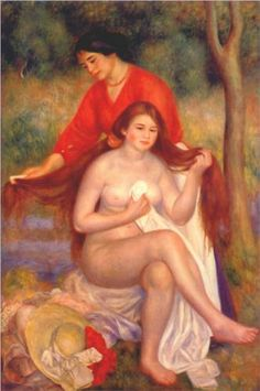 "the-barnes-art-collection: ""Bather and Maid (La Toilette de la baigneuse) by Pierre-Auguste Renoir, The Barnes Foundation Barnes Foundation (Philadelphia), Collection Gallery, Room North. Pierre Auguste Renoir, Jean Renoir, August Renoir, Barnes Foundation, Renoir Paintings, Oil Paintings, Limousin, Chef D Oeuvre, Impressionist Art"