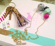 Baubles and gold key fobs from the (r-ki-tekt) Etsy shop