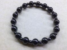 Handmade HEMATITE Gemstone BRACELET 8mm & 4mm Beads - Chakra Healing Balancing