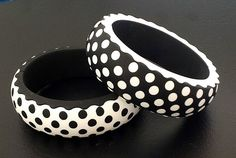 Black and white polka dot bangles by Dr. Fimo, polymer clay.