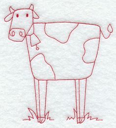 Country Cow (Redwork)