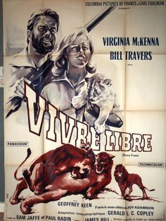 French Poster Born Free Movie Kenya
