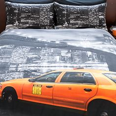 Ideal Bedding | Duvet Covers| Bedsheets | Pillowcase Pieridae New York NY Montage Taxi Yellow Cab Duvet Quilt Bedding Cover and Pillowcase Bedding Set