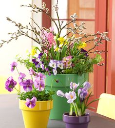 SPRINGTIME PLANTERS:  These planters add a lively Easter touch to any home. The green, yellow, and purple floral accents mimic the colorful pots -- a wonderfully festive touch.  Editor's Tip: Tie a decorative ribbon around the planters or nestle decorated eggs in the plants for added Easter flair.