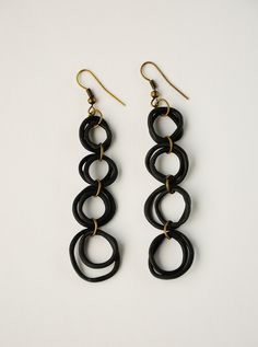 black polymer clay ring earrings by thewaiwai on Etsy