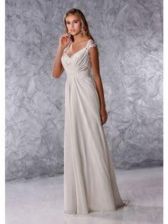Princess Spaghetti Strap V-Neck Sweep Train Chiffon Bridal Wedding Gown
