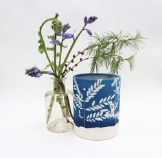 Blue Meadow - Cyanotype Lantern. A handmade candle lantern for summer garden parties and cozy winter nights.