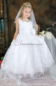 Shop New First Communion Dresses for 2019 on sale. Popular Girls First Holy Communion Dresses offered in a variety of sizes, lengths. Shop 2019 First Communion Dresses on Sale at Christian Expressions Girls First Communion Dresses, First Communion Veils, Holy Communion Dresses, Little Girl Dresses, Girls Dresses, Flower Girl Dresses, Dress With Bow, Lace Dress, Dress Making