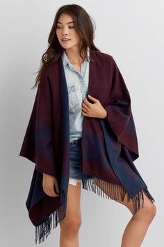 AEO Southwestern Fringe Poncho  by AEO | Drape your look with free-spirited style