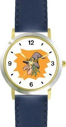 Witch (Head) No.2 - WATCHBUDDY® DELUXE TWO-TONE THEME WATCH - Arabic Numbers - Blue Leather Strap-Size-Children's Size-Small ( Boy's Size & Girl's Size ) WatchBuddy. $49.95. Save 38% Off!