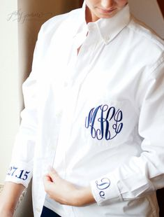 Monogrammed Button Down Bride's Shirt Getting by HeatherStrickland