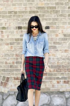chambray top, red lips, and plaid