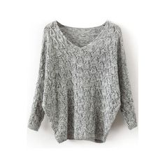SheIn(sheinside) Grey V Neck Long Sleeve Hollow Sweater (€15) ❤ liked on Polyvore featuring tops, sweaters, shirts, grey, shein, v-neck shirts, loose long sleeve shirt, long-sleeve shirt, grey shirt and gray sweater
