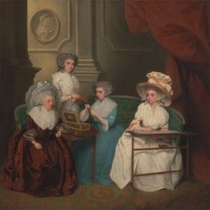 Lady Jane Mathew and Her Daughters, c. 1790. Painted by an unknown artist, 18th century; Formerly attributed to John Downman, 1750–1824. Yale Center for British Art