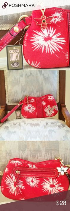 "Juicy Couture Wristlet NWT! Vibrant red velvet textured wristlet golden hardware patent leather braided details exterior rear zip pocket top zip close unique shape super durable wristlet strap signature exterior/interior signature 2 sided butterfly charm interior i.d./credit card slip pocket-""charge it!"" This piece uniquely fun and definitely an eye catching conversation piece. 8W 5H 7DROP. GORGEOUS! Juicy Couture Bags Clutches & Wristlets"