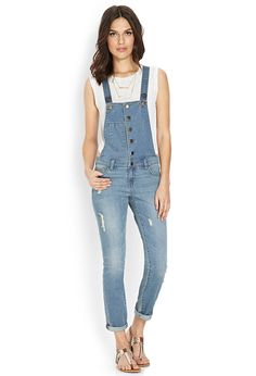 Life In Progress-Distressed Overalls | FOREVER21 #F21Contemporary #Denim #Overalls I like that they're skinny legged