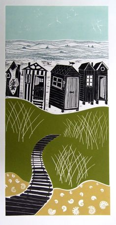 A hand-produced original linocut by Diana Ashdown. The image shows beach huts at the seaside in Walberswick, Suffolk. Linocut Prints, Art Prints, Block Prints, Unusual Presents, Linoprint, Woodblock Print, Art Inspo, Printmaking, Graphic Art