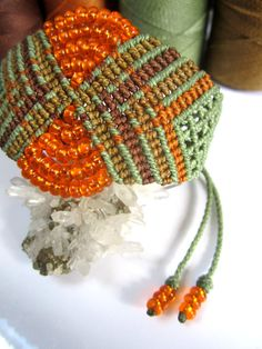 Green&Orange Wristband Bracelet with Glass by PapachoCreations