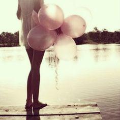 #romantic #cute #sweet #girly #vintage #pink #ballons #girl #summer #beach #lake #inspiration #dress #fashion #style
