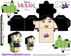 At the End of the Mulan She dawns a new dress I like to call her Saving China Dress. Cubeecraft of Mulan in her Saving China Dress Disney Diy, Film Disney, Disney Crafts, Toy Art, 3d Paper Crafts, Paper Toys, Mickey Mouse House, Paper Cube, Disney Princess Jasmine
