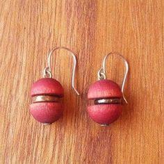 Aarikka Finland Vintage Earrings Red Wood Beads Dangle  #Aarikka #Beaded