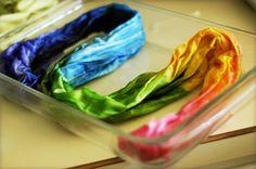 Making a rainbow silk scarf