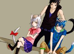 Anime/manga: Fairy Tail Characters: Happy, Carla, and Lily, human!